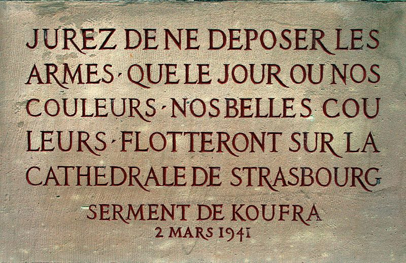 The text of the Oath of Kufra, which Leclerc made his troops swear to after capturing Kufra. (Source: Wikimedia)