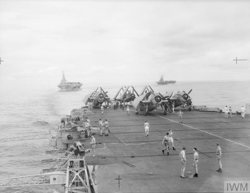 HMS 'Victorious' and 'Implacable' from HMS 'Formidable' as the ships turned into position, c. July 1945. (Source: © IWM (A 30193))