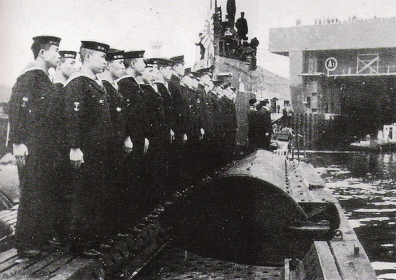 The crew of the Imperial Japanes Navy submarine I-8 at Brest, c. June 1943. (Source: Wikimedia)