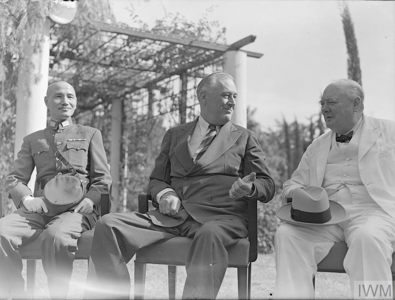 Generalissimo Chiang Kai-shek, Mr Roosevelt and Mr Churchill in the grounds of the villa during the Cairo Conference. (Source: © IWM (A 20574))