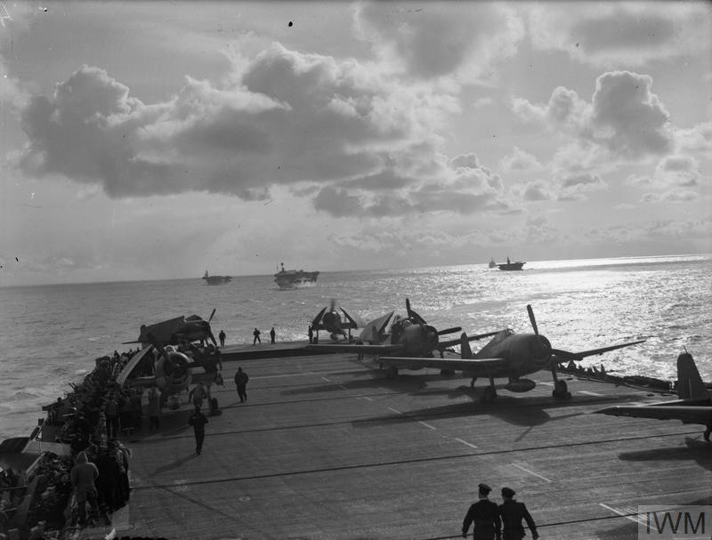 Some of HM Ships of the British Home Fleet, HMS 'Furious' (nearest), HMS 'Searcher', HMS 'Pursuer', and HMS 'Jamaica', which took part in the attack on the TIRPITZ on 3 April 1944. (Source: © IWM (A 22649))