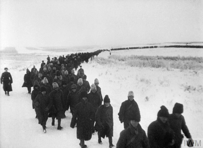A line of Romanian prisoners captured during the Battle of Stalingrad in late 1942 or early 1943. (Source: © IWM (MH 9701))