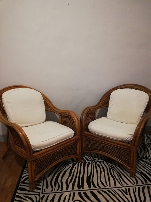 Lot de 2 fauteuils en rotin