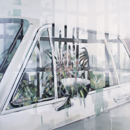 Glashaus, 2018, oil-canvas, 94 x 94 cm.