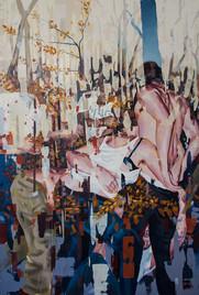 down, 2015, oil - canvas, 175 x120 cm
