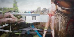 swim, 2018, oil-canvas, 140x70 cm