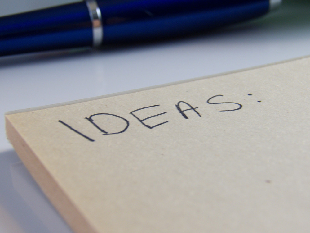 "Notepad labeled ""Ideas"""