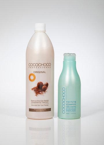 Cocochoco Original Keratin hair Treatment for dark hair + pre treatment Shampoo