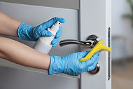 Cleaning door handles with an antiseptic