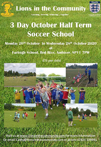 3 day October half term Soccer School Po