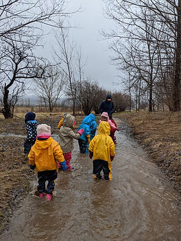 kids playing outside in the mud!