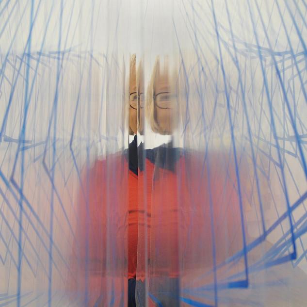 43. Portrait of Nancy Through Blue Tipped Vinyl by George Schaub