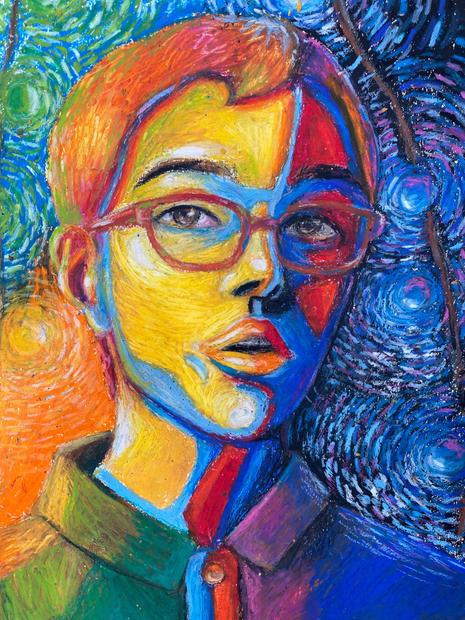 2nd Place Printmaking/Drawing - Light Self Portrait, Liz Schroeder