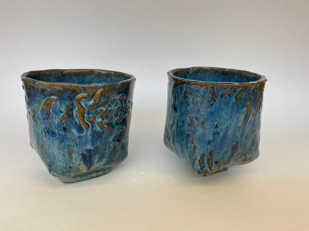 Honorable Mention, Sculpture/Ceramics - Set of Two Teacups, Madison Neviaser