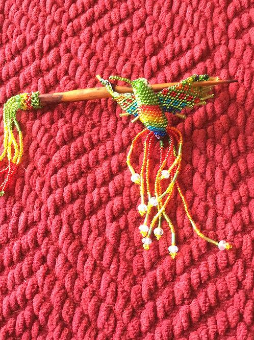 Hummingbird Hair Decor Green Rainbow