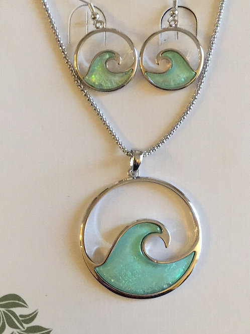 Ocean Wave Necklace and Earrings