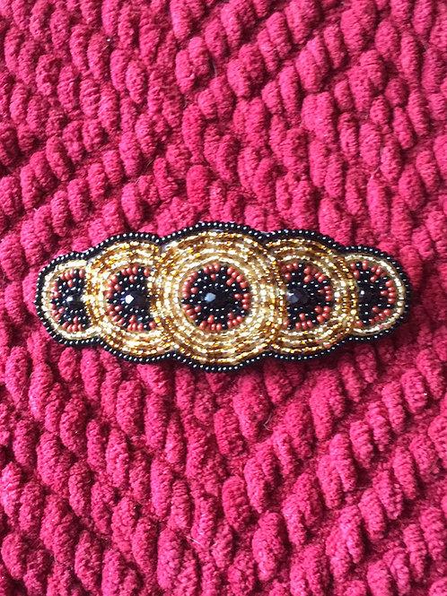 Native American Beaded Hair clip Black Gold