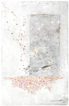桜の絨毯に出逢った日 2018  和紙,木製パネル,墨,顔彩, アクリル