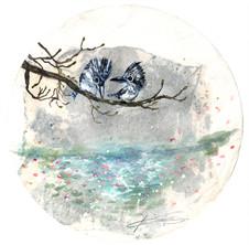 ヤマセミが春についての会話をした日 2018  和紙,木製パネル,墨,顔彩, アクリル