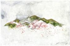 桜山 2018  和紙,木製パネル,墨,顔彩, アクリル