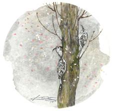 キバシリが春を走った日 2018  和紙,木製パネル,墨,顔彩, アクリル
