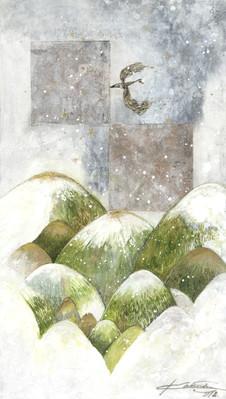 なごり雪が降った日 2018  和紙,木製パネル,墨,顔彩
