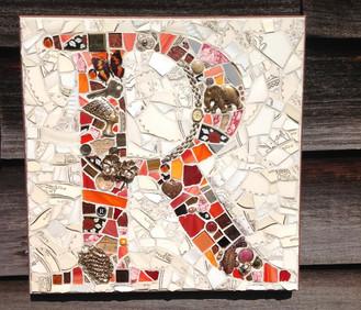 R mosaic plaque