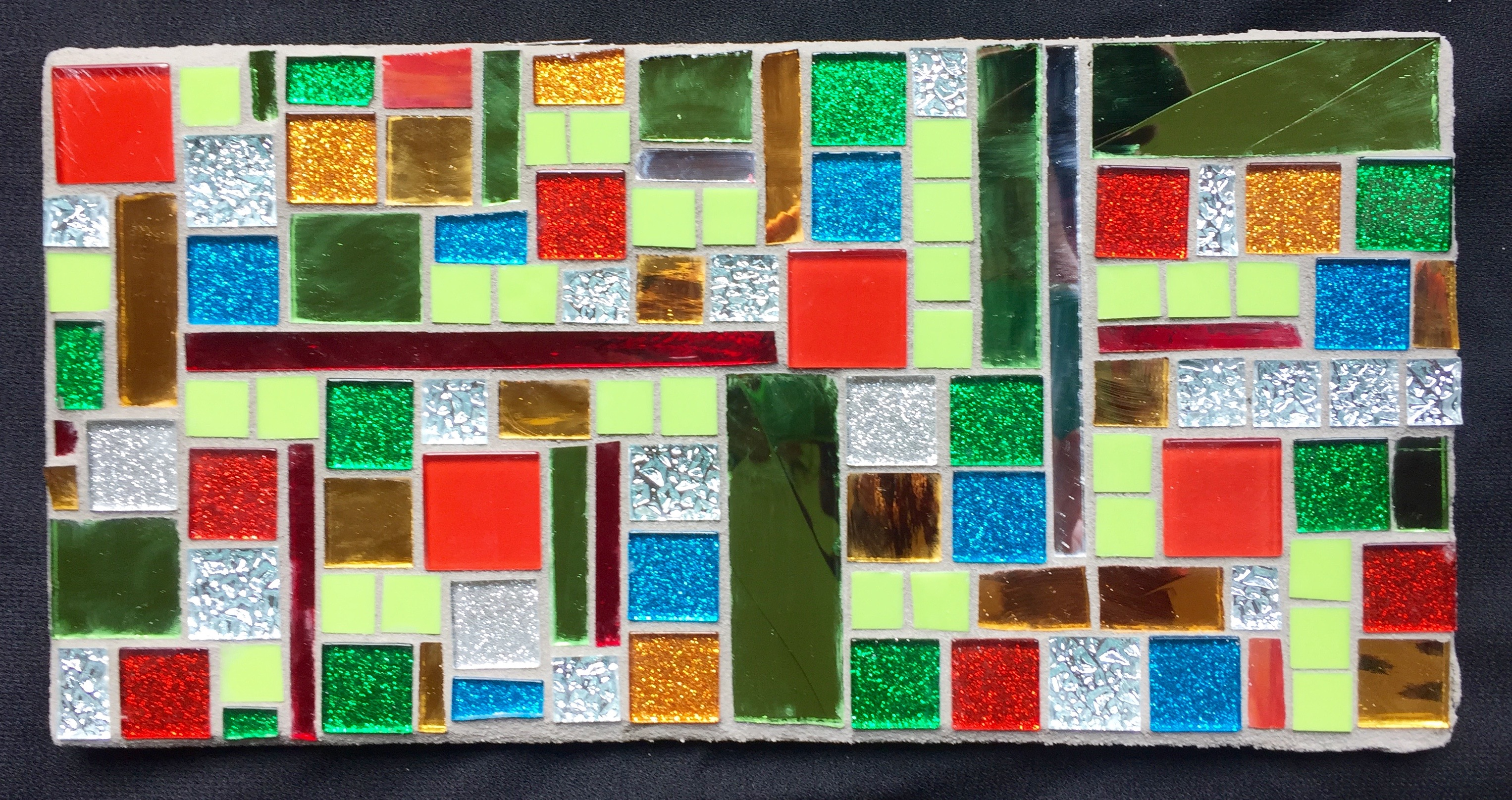 X-mas color block mosaic plaque