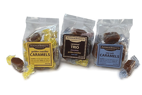 2oz. Caramel bags: case size = 36 (approx. 5 caramels/bag)
