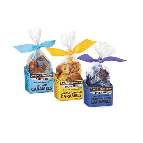 Organic DAIRY FREE Vegan Caramels: 5.2oz. Boxes: case size = 12