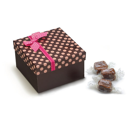 Brown Polka Dot Gift Box - 10 oz. (approx. 20 caramels)