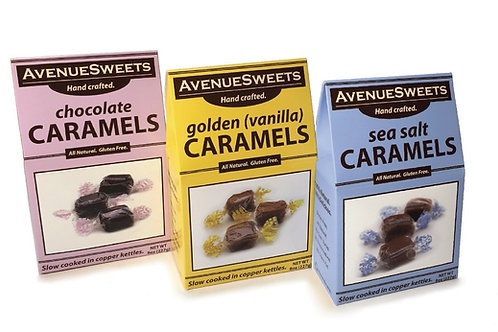 8oz. Caramel Boxes: case size = 12 (approx. 18 caramels/box)