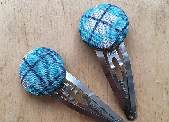 Barrette bleue carreaux