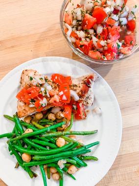 Chicken Bruschetta & Sautéed Green Beans