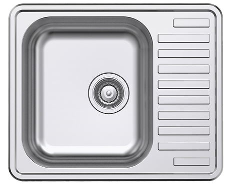 NCE 585mm One Piece Square Sink with Off-centre Drain