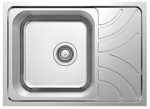 NCE 605mm One Piece Square Sink with Off-centre Drain