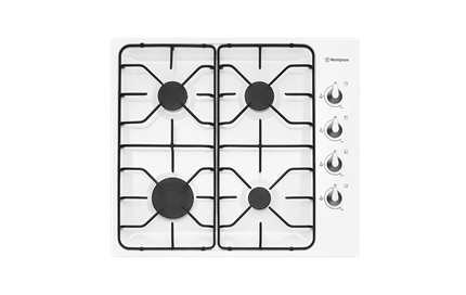 Westinghouse 60cm White Gas Cooktop With Flame Failure