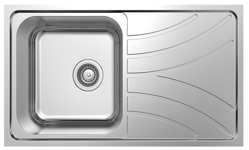 NCE 780mm One Piece Square Sink with Off-centre Drain