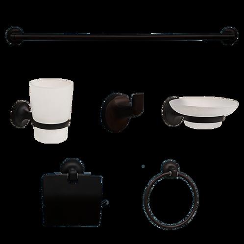 NCE Black Bathroom Accessories (6 Piece Kit)