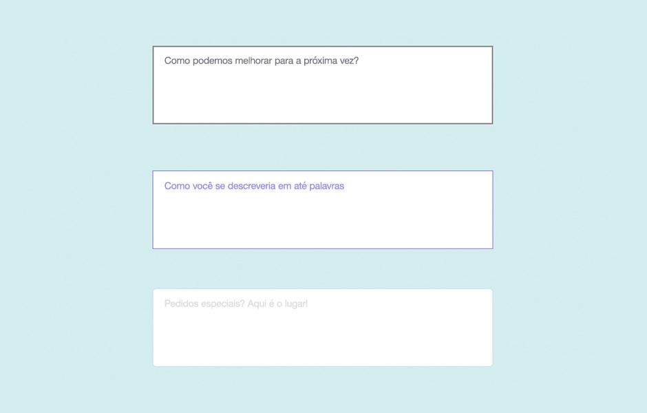 Principais elementos de formulários online: caixa de texto