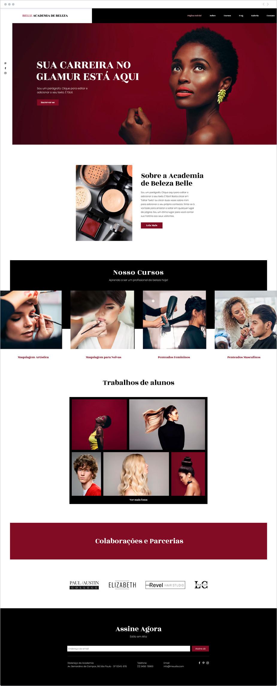 Template para Site de Academia de Beleza