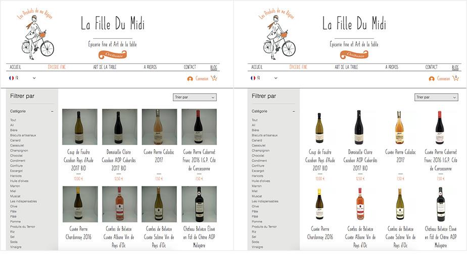 Site Wix da loja de produtos gourmet La Fille Du Midi, antes e depois