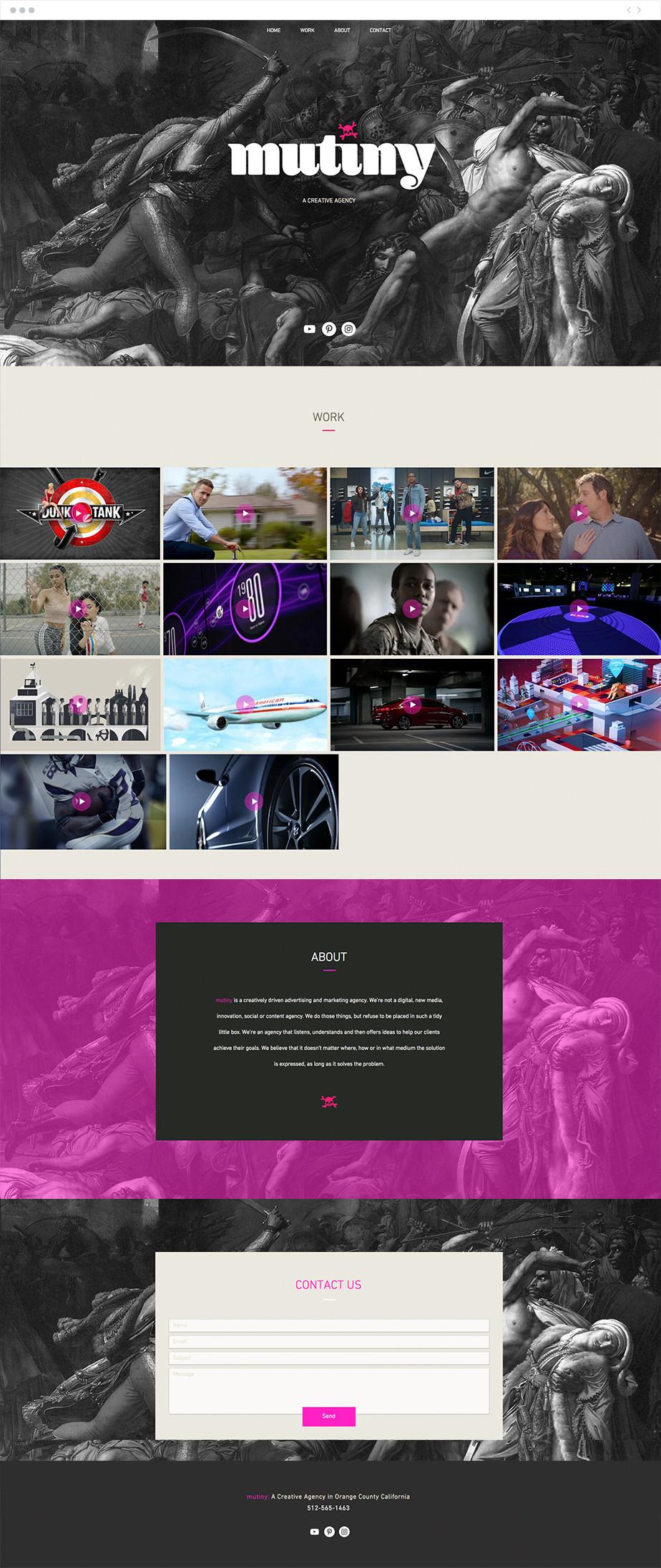 Exemplo de site Wix de página única