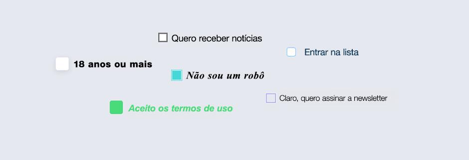 Principais elementos de formulários online: caixa de seleção