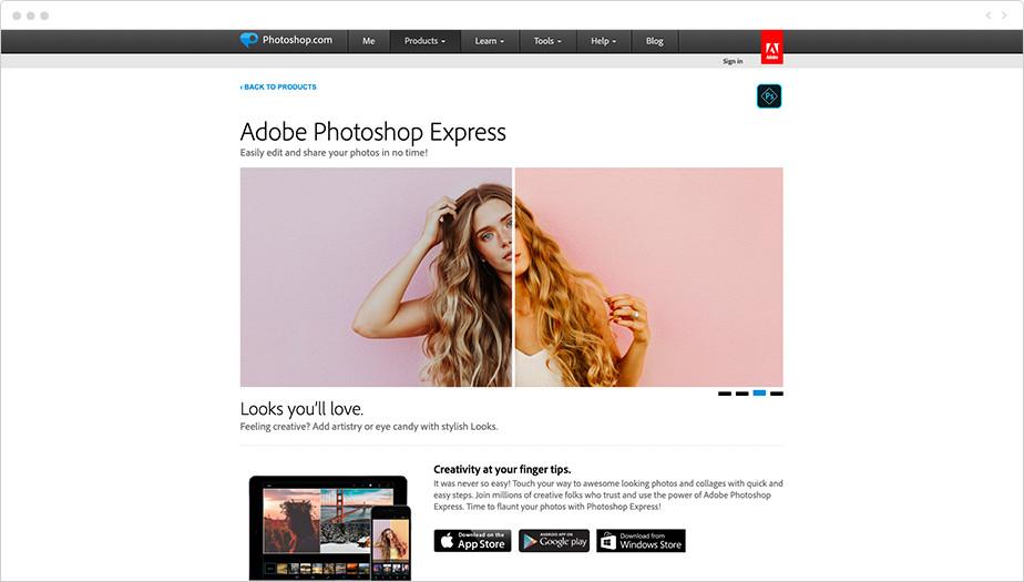 Melhores Programas de Edição de Fotos Gratuitos: Adobe Photoshop Express