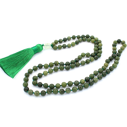 BC Jade and Prehnite Knotted Mala
