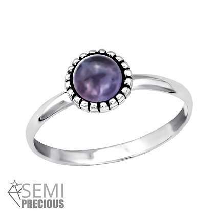 Amethyst Crystal Ring Sterling Silver