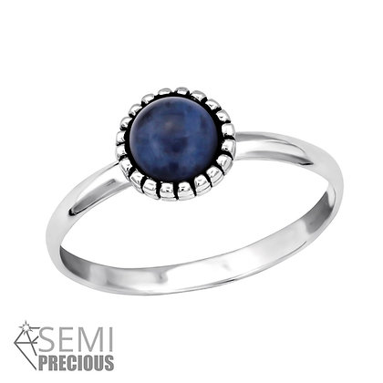 Sodalite Crystal Ring Sterling Silver
