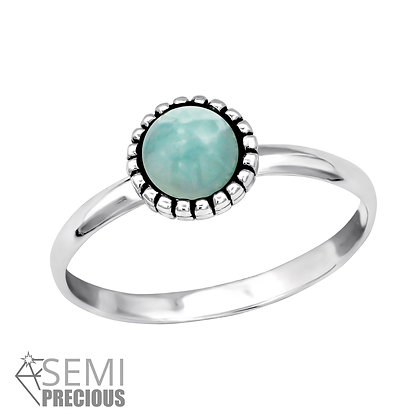 Amazonite Crystal Ring Sterling Silver
