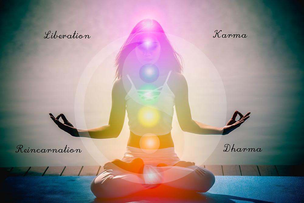Chakras, karma, dharma, reincarnation, liberation